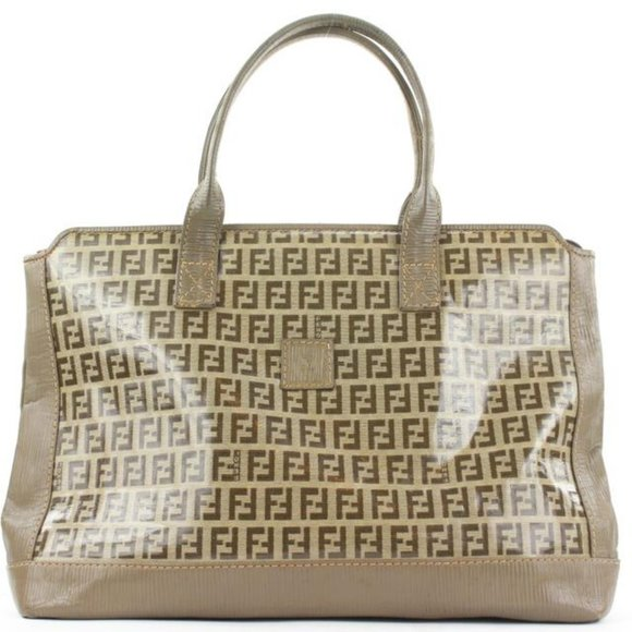 Fendi Brown FF Monogram Zucca Zip Tote bag 8ff114